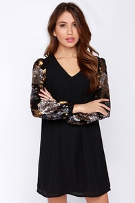 Darling Saphyia Black and Gold Sequin Dress at Lulus.com!