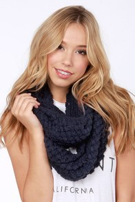 Neither Sphere Nor There Navy Blue Infinity Scarf at Lulus.com!