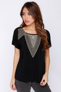 Work The Angles Beaded Black Top at Lulus.com!