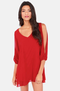 Shifting Dears Red Long Sleeve Dress