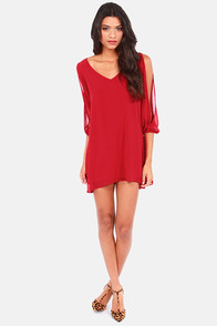 Shifting Dears Red Long Sleeve Dress at Lulus.com!