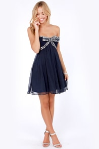The Whole Package Strapless Navy Blue Sequin Dress at Lulus.com!