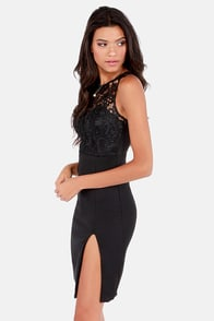 The Fox Black Lace Dress at Lulus.com!