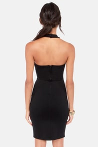 Front-Runner Cutout Black Halter Dress at Lulus.com!