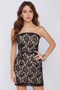 Creme Bru-Lace Black Strapless Lace Dress at Lulus.com!