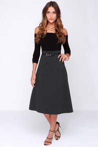 Getting Dolled Up Dark Grey Midi Skirt at Lulus.com!