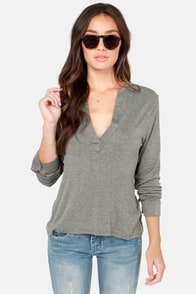 Glad to V You Grey Top at Lulus.com!