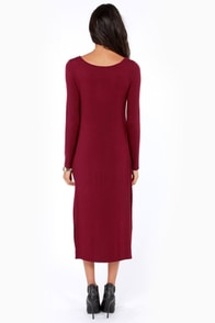 The Great Divide Long Sleeve Burgundy Dress at Lulus.com!