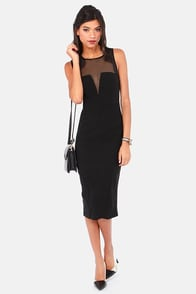 Be My Baby Cutout Black Midi Dress