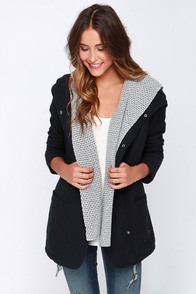 Roxy Wind Waves Black Hooded Coat at Lulus.com!