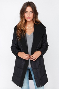 BB Dakota Larissa Padded Black Coat at Lulus.com!