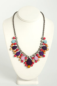 Berry a Tune Pink and Purple Rhinestone Necklace