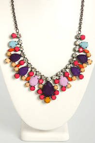 Berry a Tune Pink and Purple Rhinestone Necklace at Lulus.com!