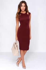 LULUS Exclusive More And Amore Burgundy Midi Dress at Lulus.com!