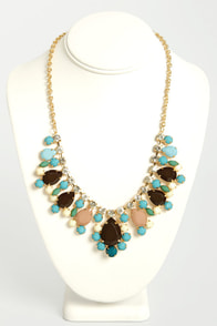 Berry a Tune Brown and Blue Rhinestone Necklace at Lulus.com!