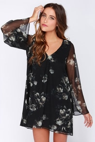 Chaser Garden Gala Black Floral Print Silk Dress at Lulus.com!