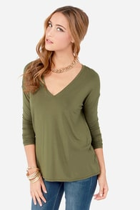 In Clover Olive Green Long Sleeve Top at Lulus.com!