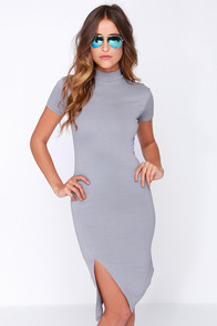 LULUS Exclusive In the Neck of Time Grey Bodycon Dress at Lulus.com!