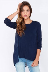 Black Swan Ginger Bread Navy Blue Long Sleeve Top at Lulus.com!