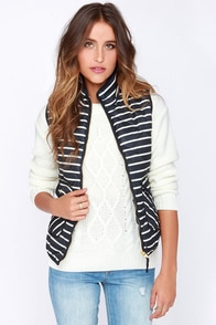 Dee Elle Aspen Navy Blue and Ivory Striped Puffer Vest at Lulus.com!