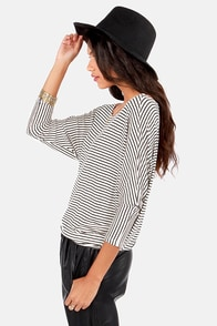 Dolman's Best Friend Ivory Striped Top at Lulus.com!