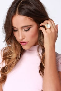 Circular Logic Gold Pearl Statement Ring at Lulus.com!