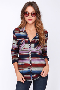 Roxy Camp Site Multi Striped Long Sleeve Top at Lulus.com!