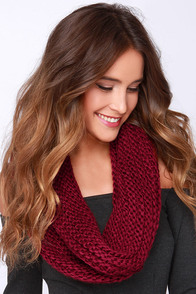 You're So Twisted Burgundy Knit Infinity Scarf at Lulus.com!