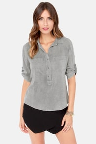 No Place Like Home Washed Grey Top at Lulus.com!