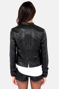 The Wanderer Black Vegan Leather Jacket at Lulus.com!