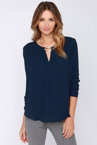 Copier Cat Navy Blue Long Sleeve Top at Lulus.com!
