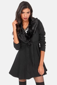 Fur Give and Fur Get Black Frock Coat at Lulus.com!