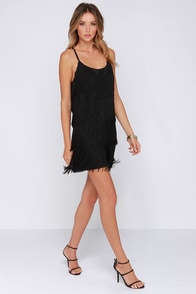 For Goodness Shakes Black Fringe Dress at Lulus.com!