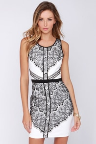 Lace Of Spades Ivory And Black Lace Dress at Lulus.com!