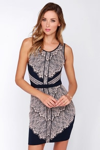 Lace of Spades Navy Blue Lace Dress at Lulus.com!