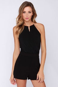 No Questions Asked Black Romper at Lulus.com!
