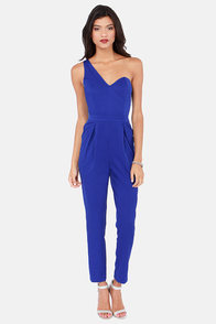 One Way Or Another One Shoulder Royal Blue Jumpsuit at Lulus.com!