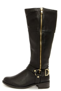Soda Salsa Black and Gold Harness Riding Boots