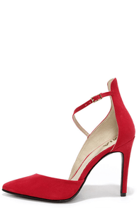 Mia Mona Red Suede D'Orsay Heels at Lulus.com!