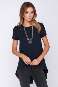 Glamorous Expert At Everything Navy Blue High-Low Top at Lulus.com!