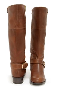 Soda Salsa Dark Tan and Gold Harness Riding Boots at Lulus.com!