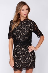 Floral Fixation Black Lace Dress at Lulus.com!