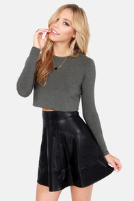 Crop, Collaborate, and Listen Grey Long Sleeve Crop Top at Lulus.com!