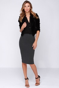 Glamorous Love Language Grey Bodycon Midi Skirt at Lulus.com!