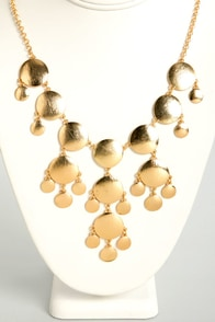 Seeing Spots Gold Statement Necklace at Lulus.com!