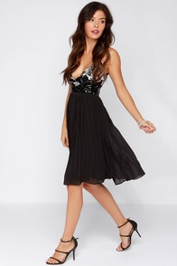 Recipe for Spectacular Black Sequin Midi Dress at Lulus.com!