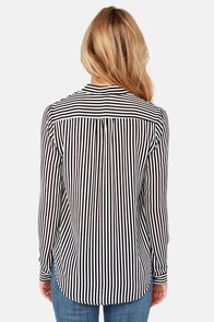 Outside the Lines Ivory and Black Striped Top at Lulus.com!