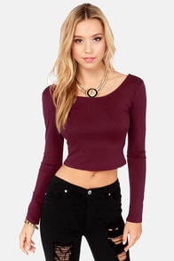 Ahead of the Game Burgundy Crop Top at Lulus.com!