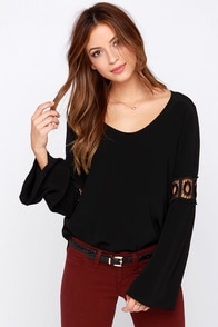 Lucy Love Enchanted Black Long Sleeve Top at Lulus.com!