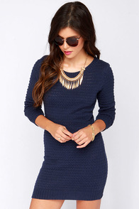 RVCA Ashley Smith Tori Navy Blue Knit Sweater Dress at Lulus.com!